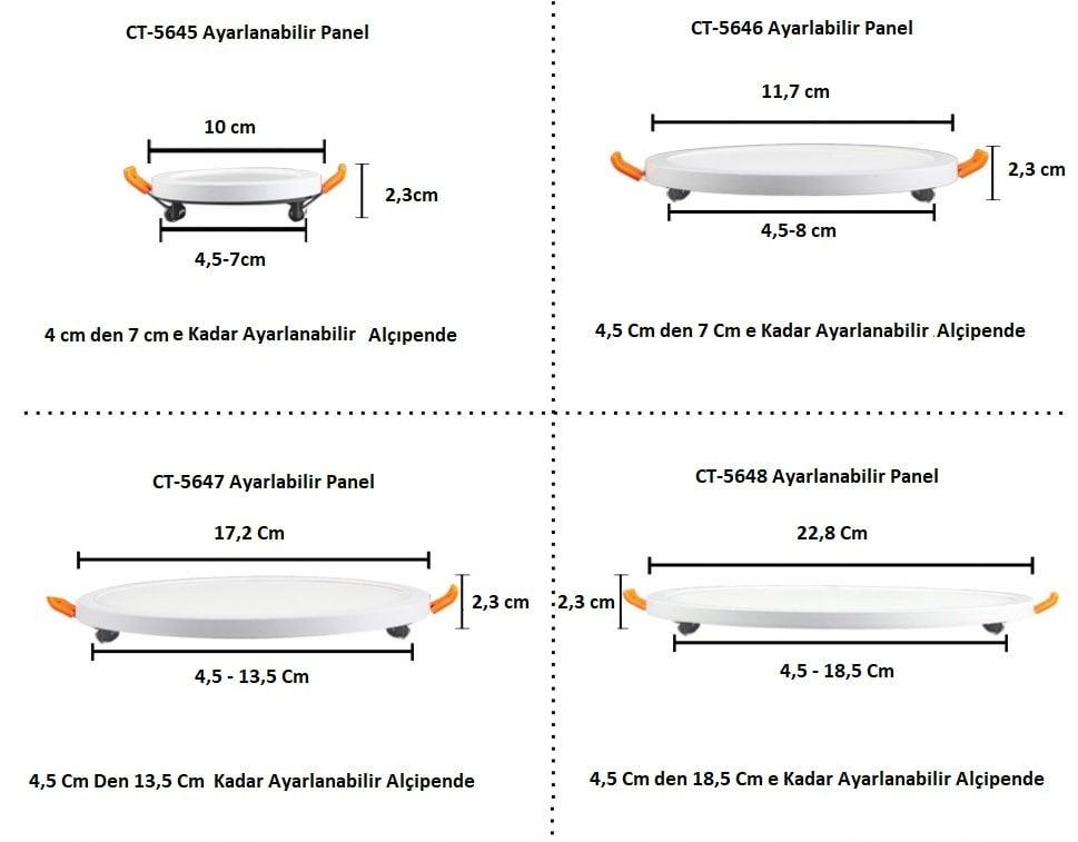 cata aydınlatma ayarlanabilir led panel